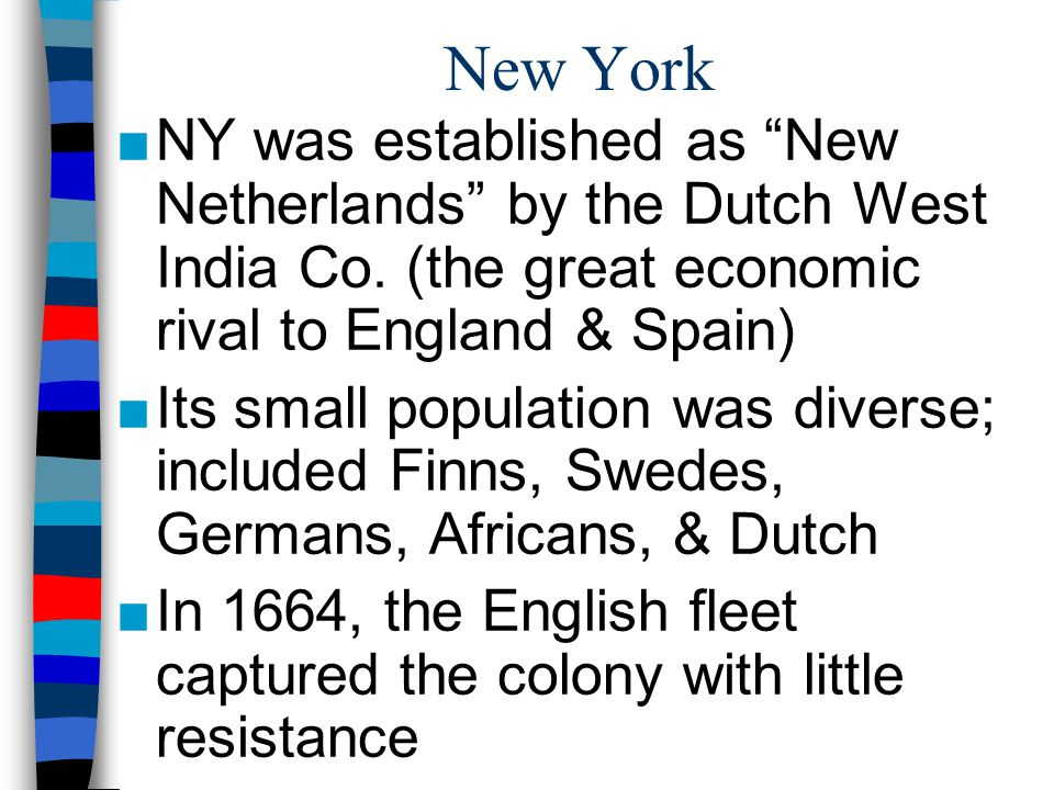 New York NY was established as New Netherlands by the Dutch West India Co. (the great economic rival to England & Spain)