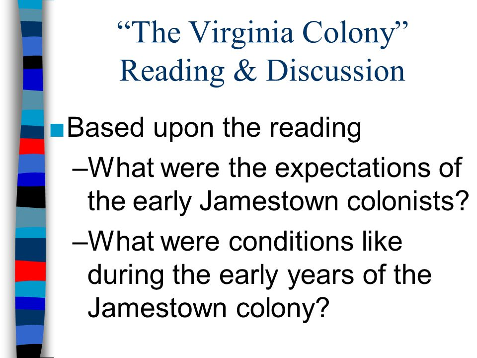 The Virginia Colony Reading & Discussion