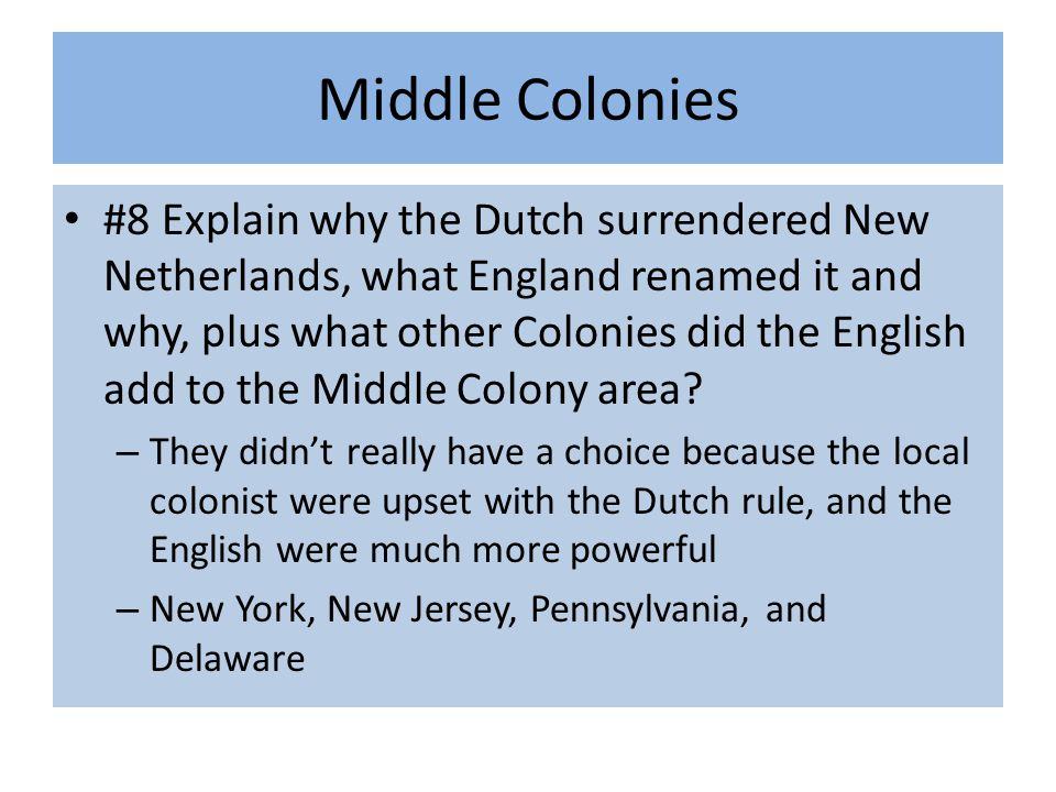 Middle Colonies