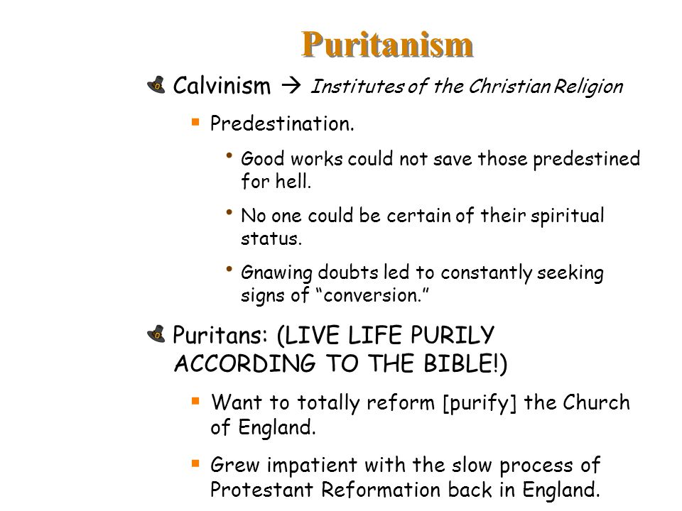Puritanism Calvinism  Institutes of the Christian Religion