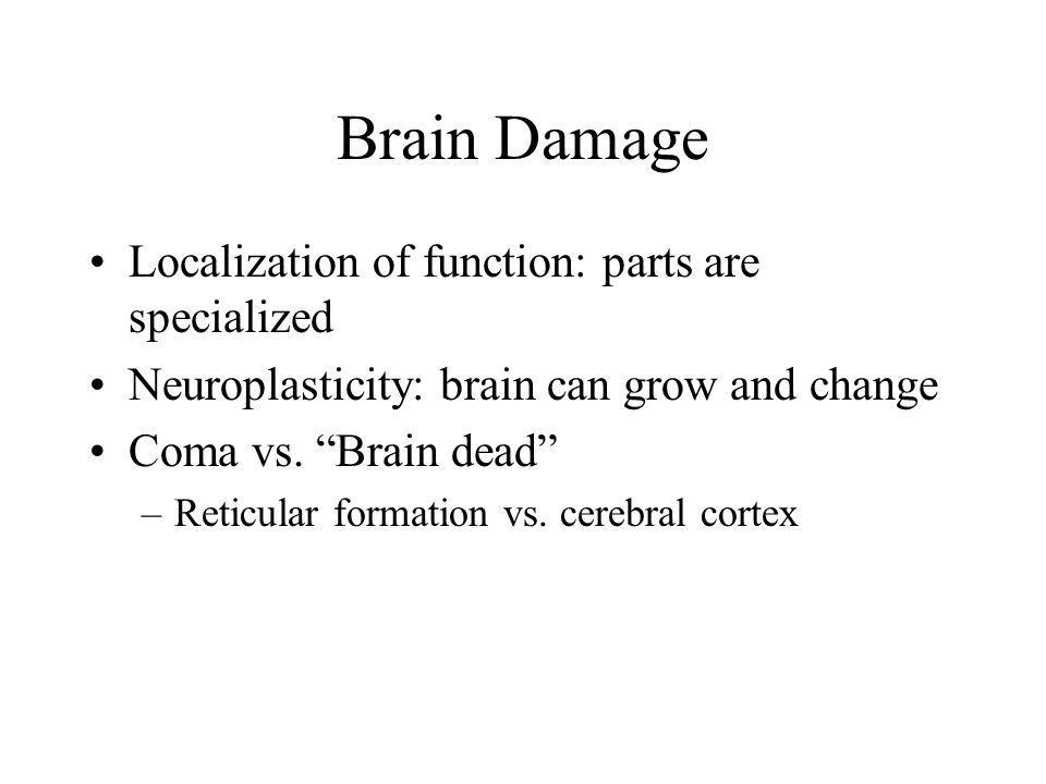 Brain Damage Localization of function: parts are specialized