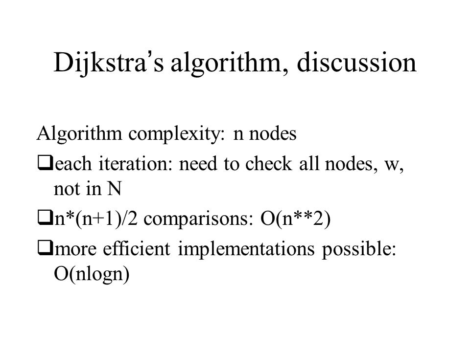 Dijkstra's algorithm, discussion