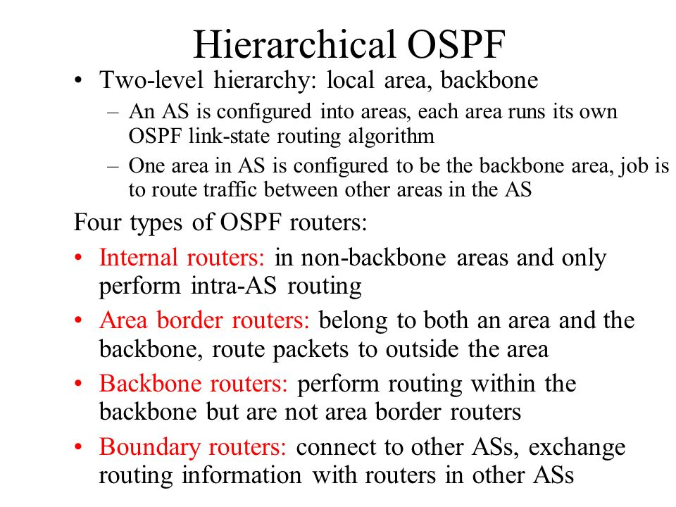 Hierarchical OSPF Two-level hierarchy: local area, backbone