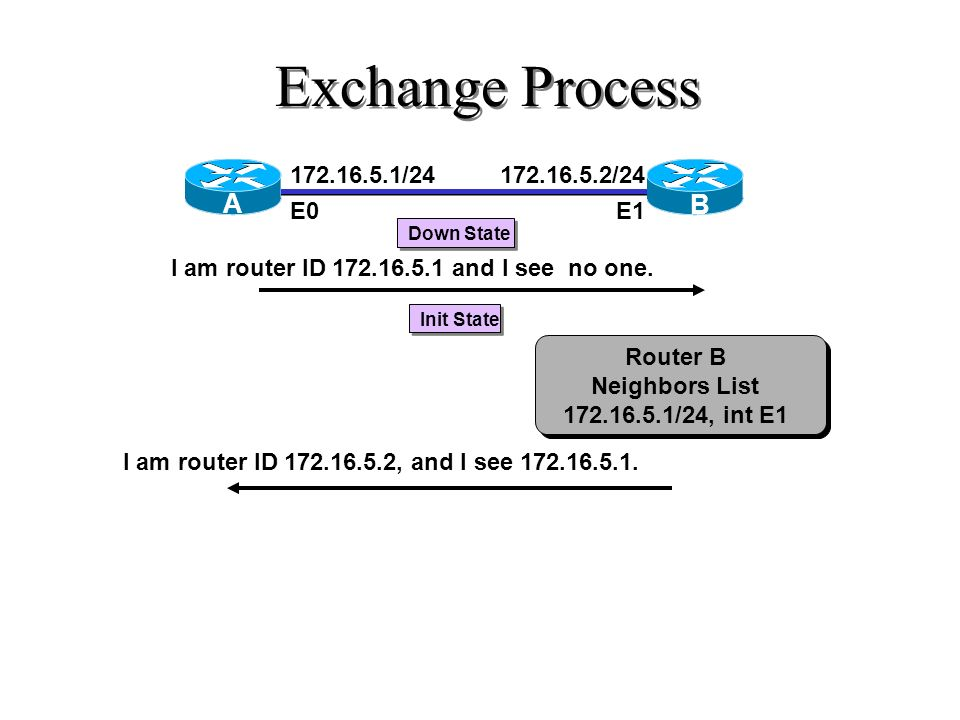Exchange Process A B 172.16.5.1/24 E0 172.16.5.2/24 E1
