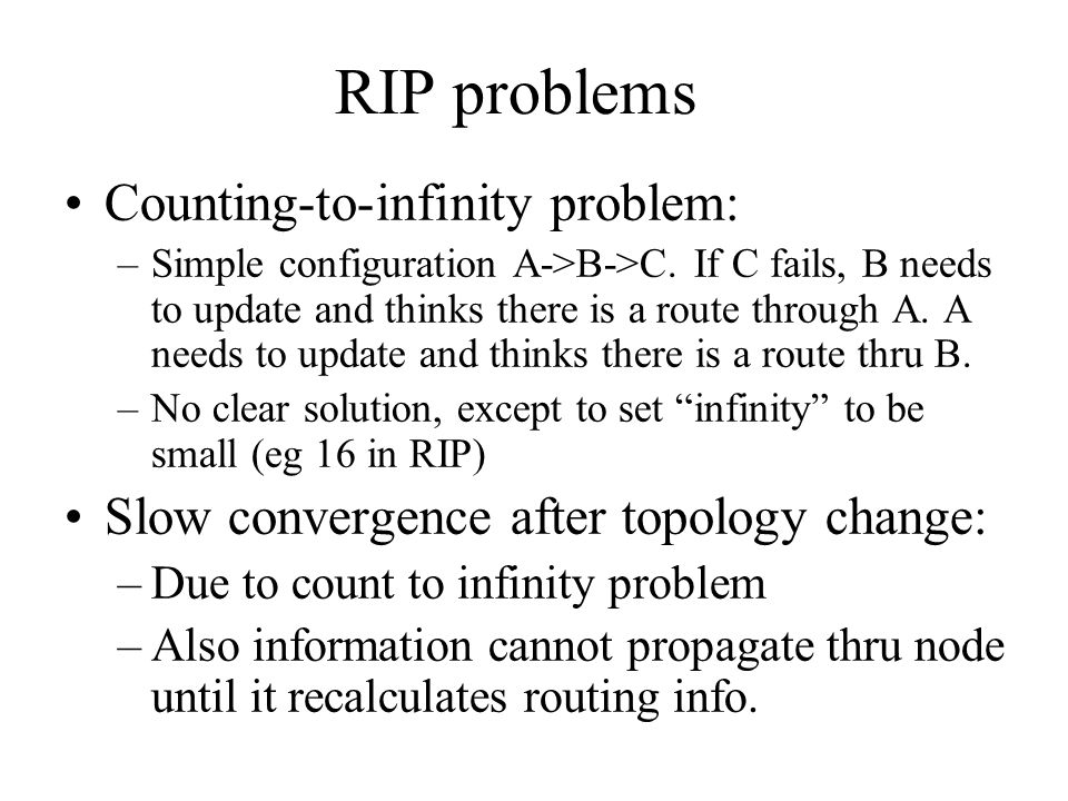 RIP problems Counting-to-infinity problem: