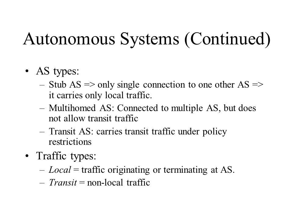 Autonomous Systems (Continued)
