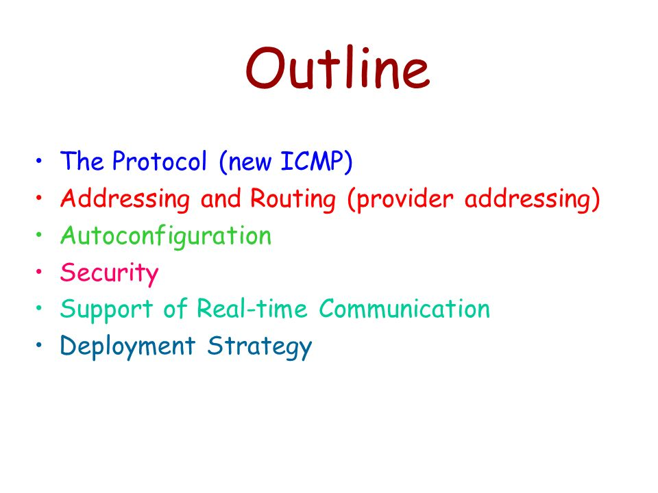 Outline The Protocol (new ICMP)