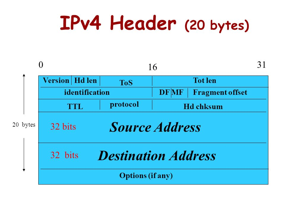 IPv4 Header (20 bytes) Source Address Destination Address 31 16