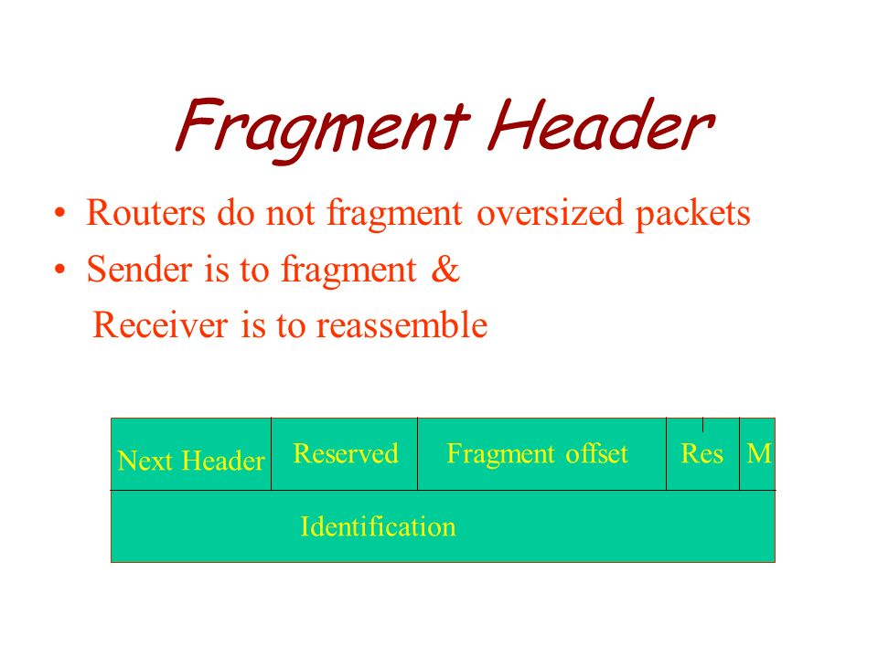 Fragment Header Routers do not fragment oversized packets
