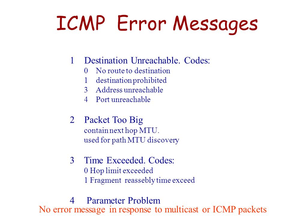 ICMP Error Messages 1 Destination Unreachable. Codes: 2 Packet Too Big