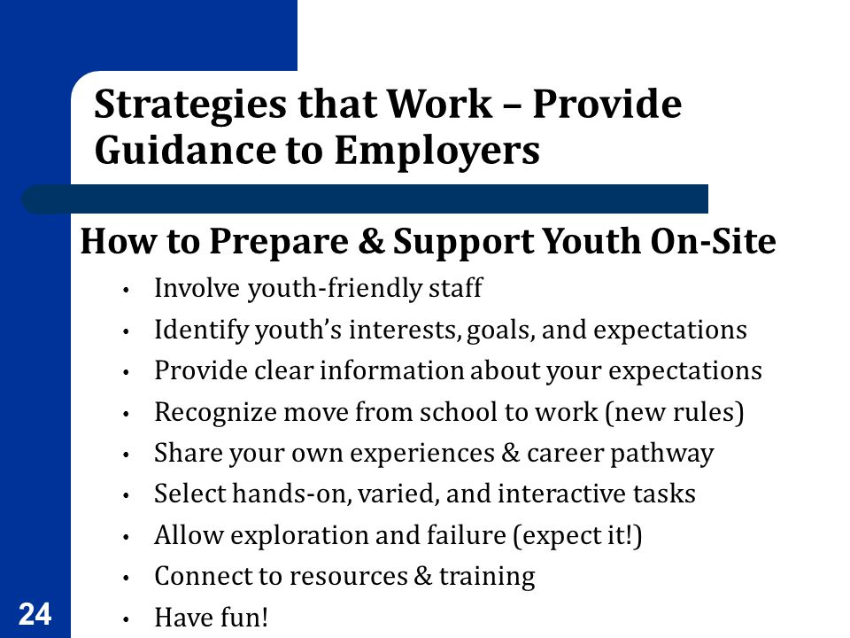 Strategies that Work – Provide Guidance to Employers