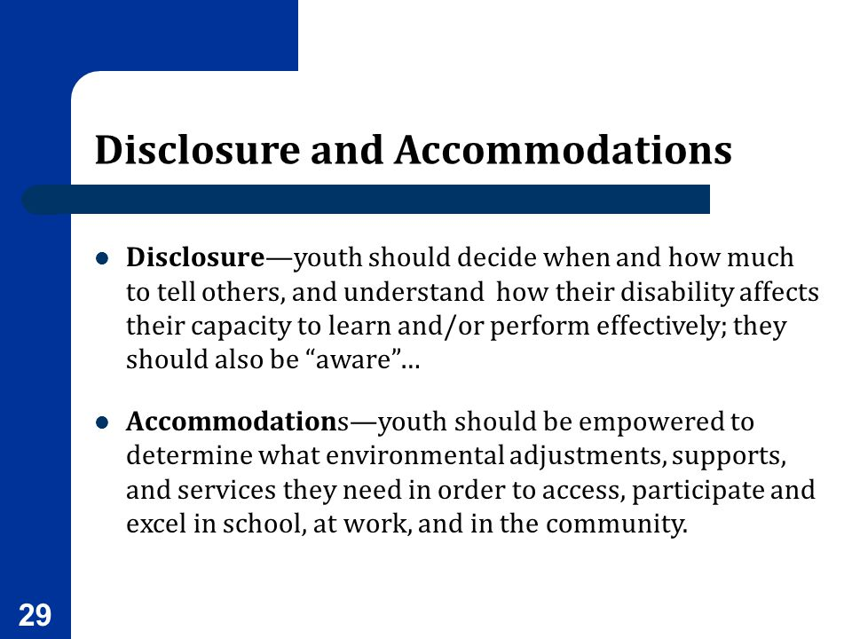 Disclosure and Accommodations