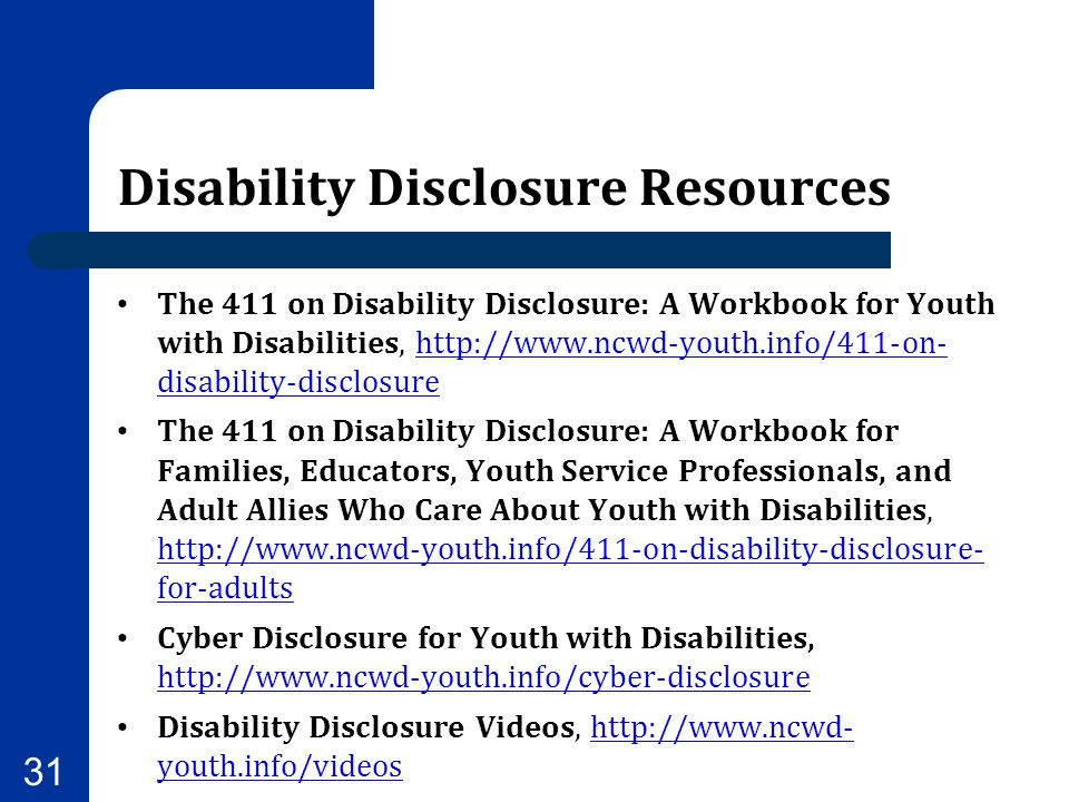 Disability Disclosure Resources