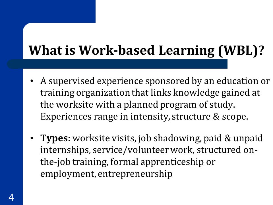 What is Work-based Learning (WBL)