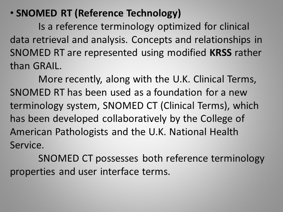 SNOMED RT (Reference Technology)