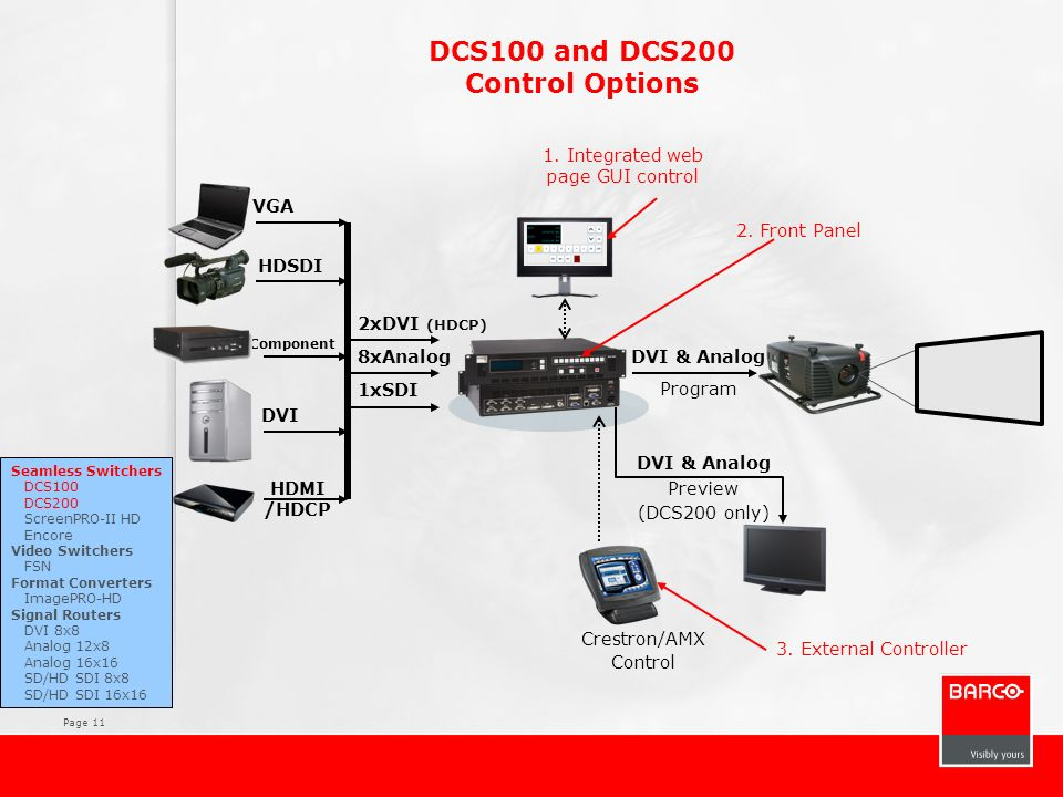 DCS100 and DCS200 Control Options