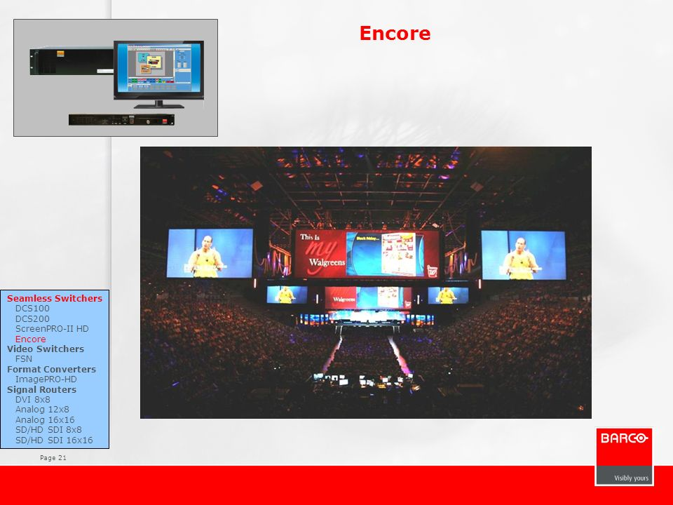 Encore Seamless Switchers DCS100 DCS200 ScreenPRO-II HD Encore