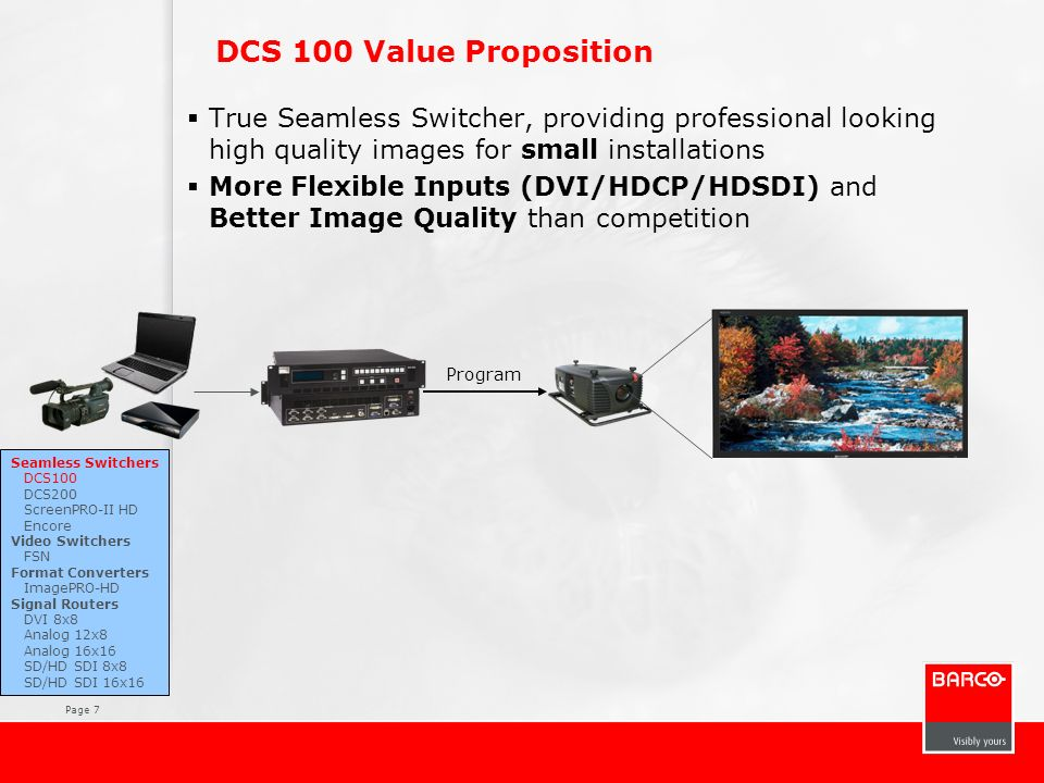 DCS 100 Value Proposition True Seamless Switcher, providing professional looking high quality images for small installations.