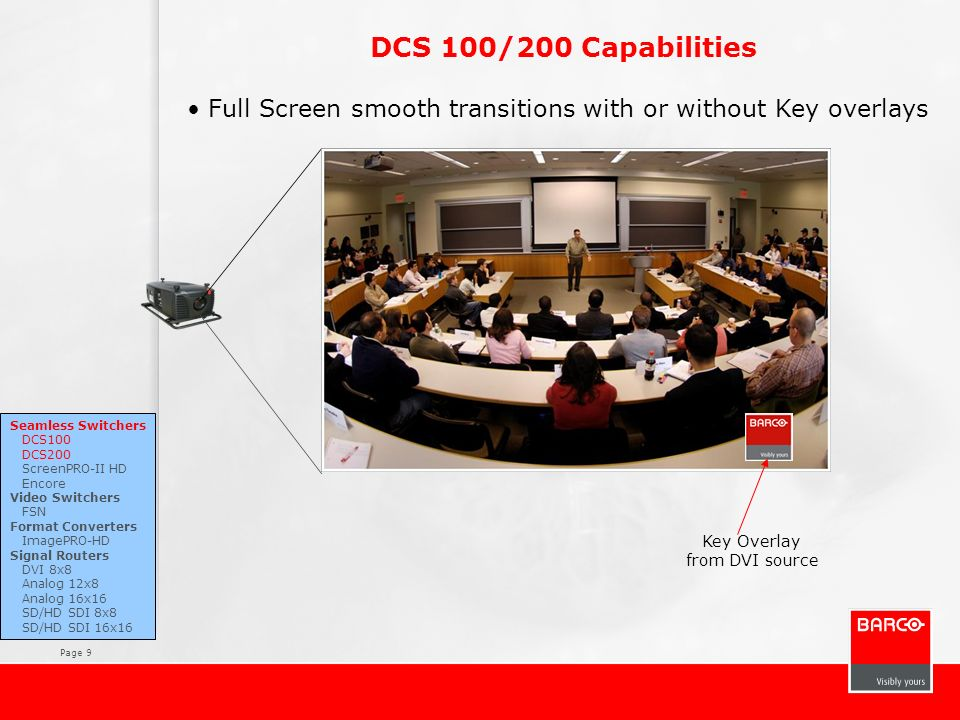 DCS 100/200 Capabilities Full Screen smooth transitions with or without Key overlays. Seamless Switchers.
