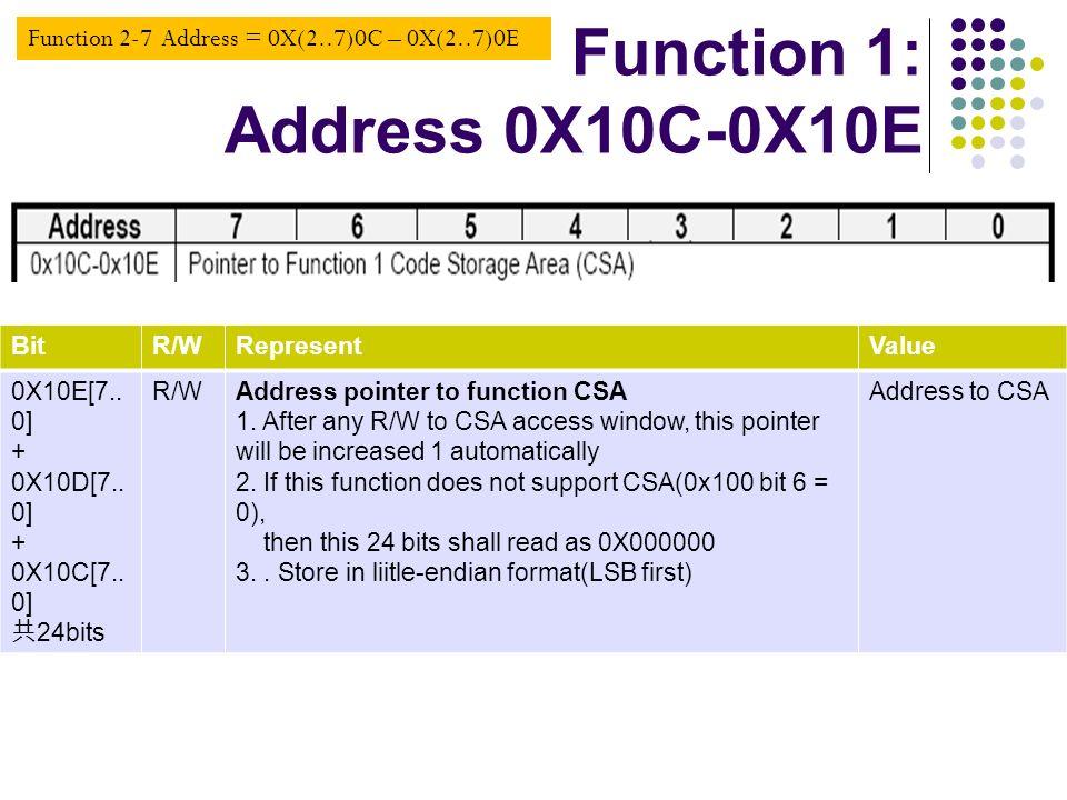 Function 1: Address 0X10C-0X10E
