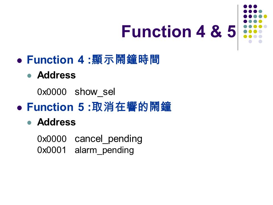 Function 4 & 5 Function 4 :顯示鬧鐘時間 Function 5 :取消在響的鬧鐘