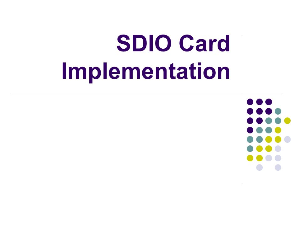 SDIO Card Implementation