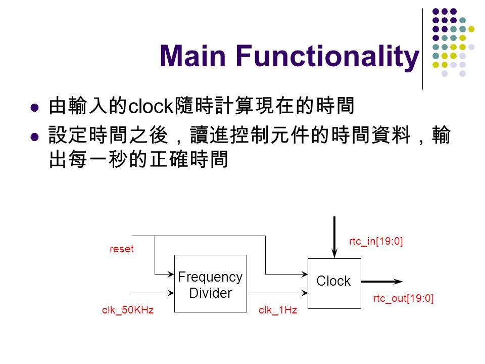 Main Functionality 由輸入的clock隨時計算現在的時間 設定時間之後,讀進控制元件的時間資料,輸出每一秒的正確時間