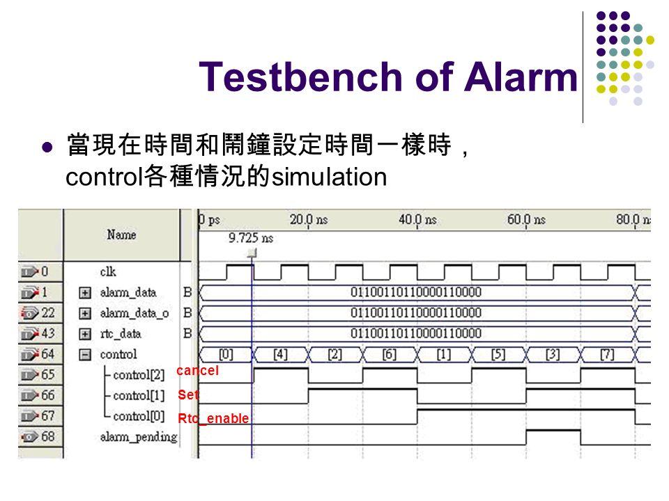 Testbench of Alarm 當現在時間和鬧鐘設定時間一樣時, control各種情況的simulation cancel Set