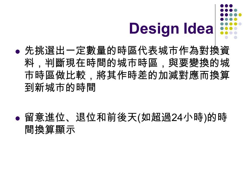 Design Idea 先挑選出一定數量的時區代表城市作為對換資料,判斷現在時間的城市時區,與要變換的城市時區做比較,將其作時差的加減對應而換算到新城市的時間. 留意進位、退位和前後天(如超過24小時)的時間換算顯示.
