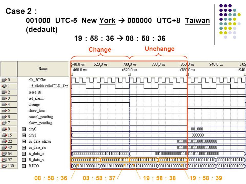 Case 2: 001000 UTC-5 New York  000000 UTC+8 Taiwan (dedault) 19:58:36  08:58:36