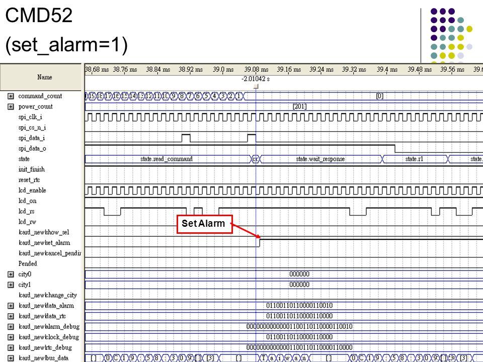 CMD52 (set_alarm=1) Set Alarm