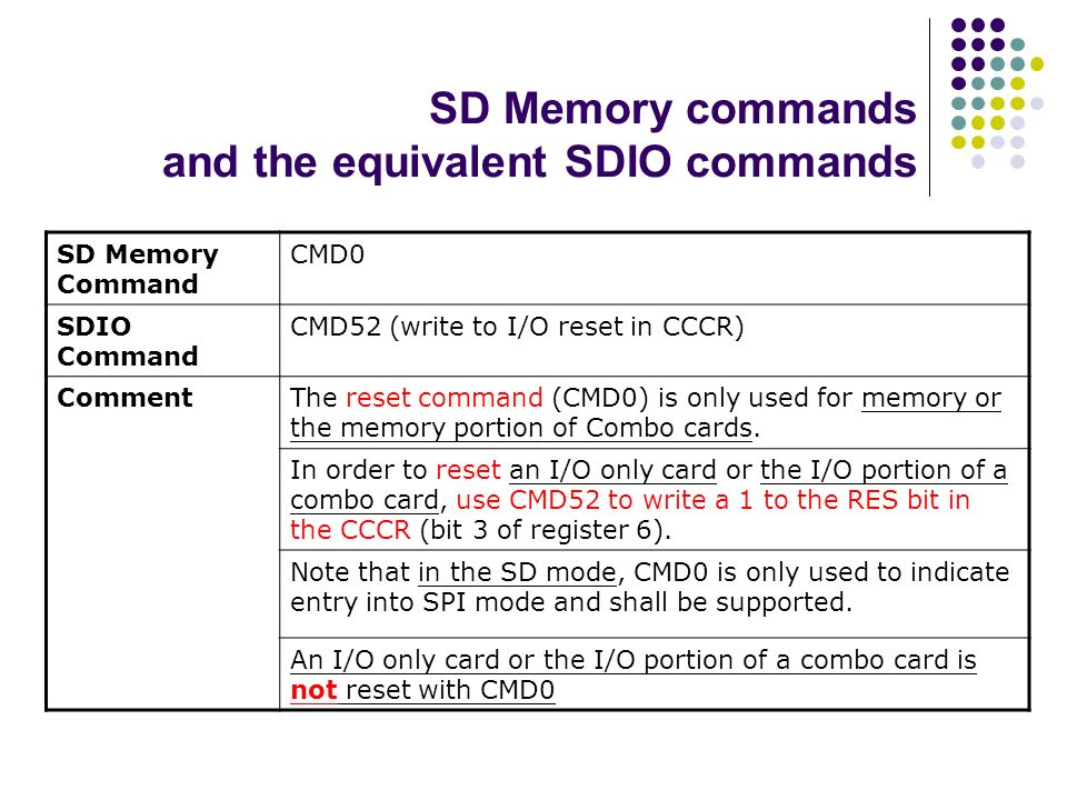 SD Memory commands and the equivalent SDIO commands