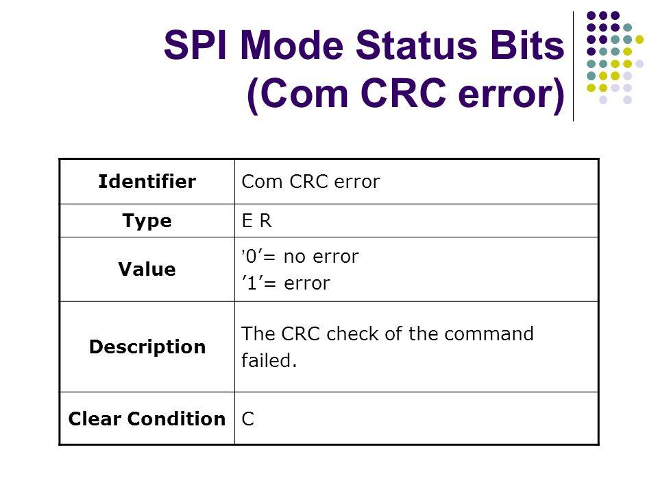 SPI Mode Status Bits (Com CRC error)