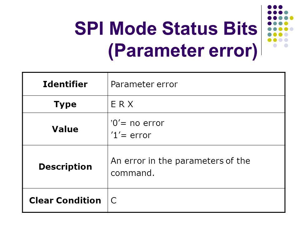 SPI Mode Status Bits (Parameter error)