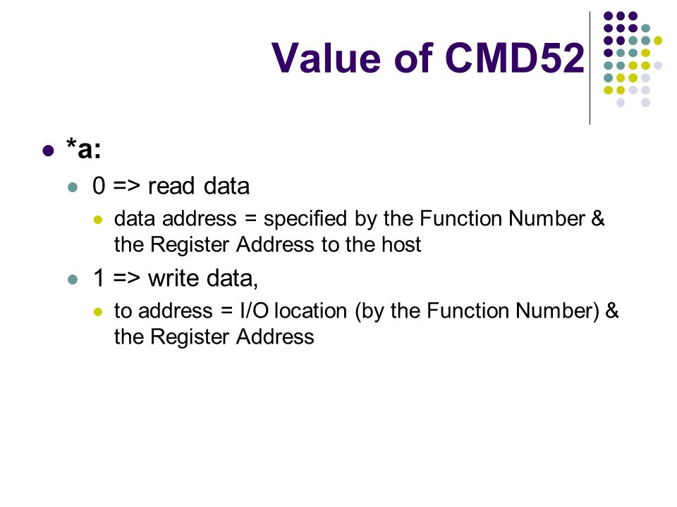Value of CMD52 *a: 0 => read data 1 => write data,