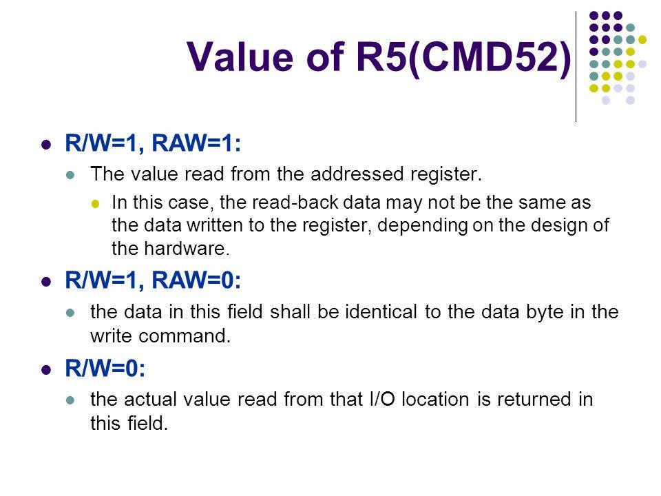 Value of R5(CMD52) R/W=1, RAW=1: R/W=1, RAW=0: R/W=0: