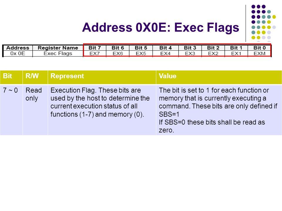 Address 0X0E: Exec Flags Bit R/W Represent Value 7 ~ 0 Read only