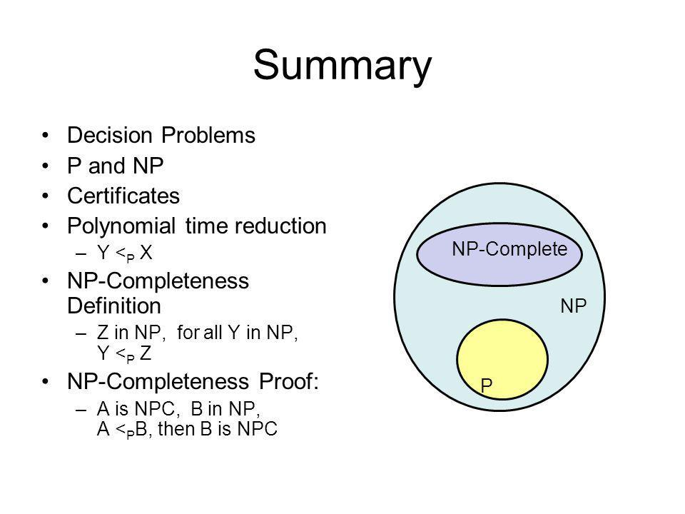 Summary Decision Problems P and NP Certificates