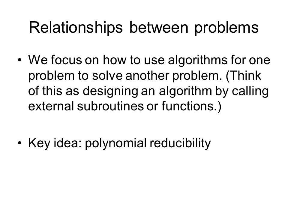 Relationships between problems
