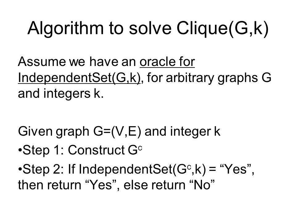 Algorithm to solve Clique(G,k)