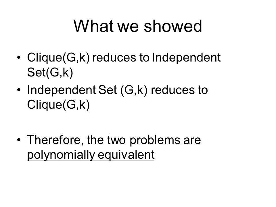 What we showed Clique(G,k) reduces to Independent Set(G,k)