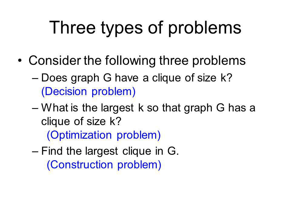 Three types of problems
