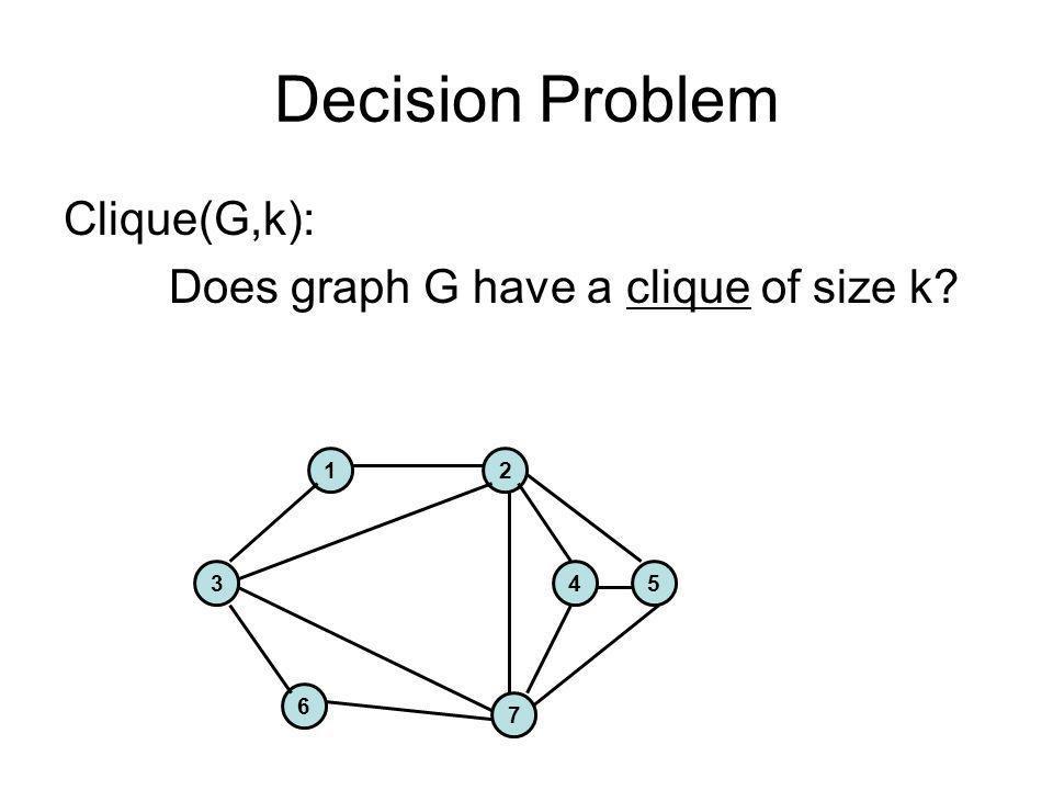 Decision Problem Clique(G,k): Does graph G have a clique of size k 1