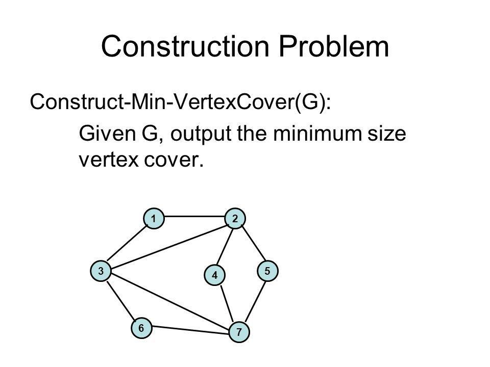 Construction Problem Construct-Min-VertexCover(G):