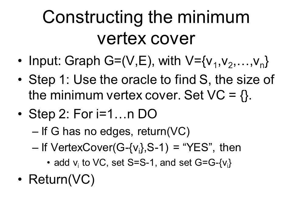 Constructing the minimum vertex cover