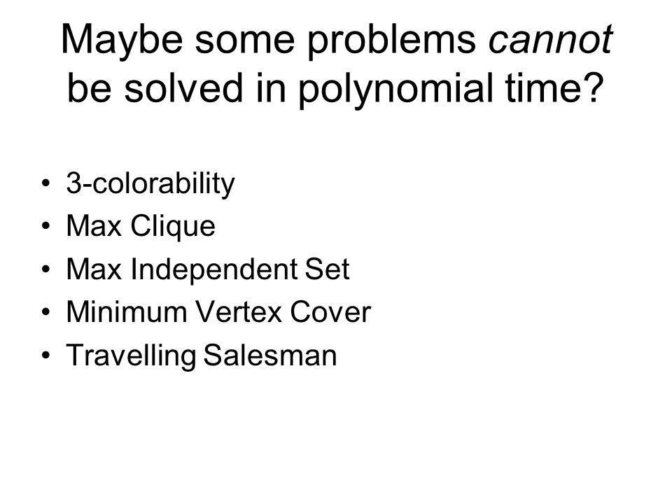 Maybe some problems cannot be solved in polynomial time