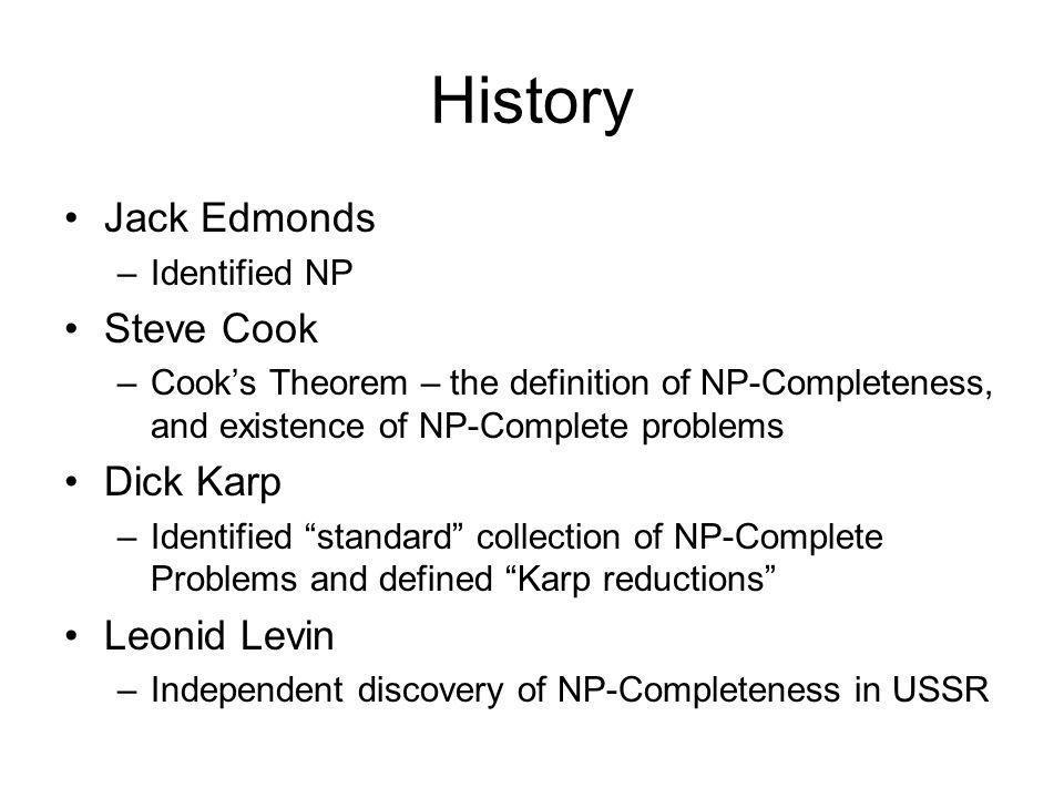 History Jack Edmonds Steve Cook Dick Karp Leonid Levin Identified NP