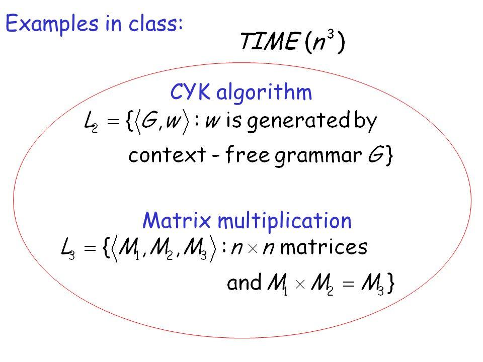 Examples in class: CYK algorithm Matrix multiplication
