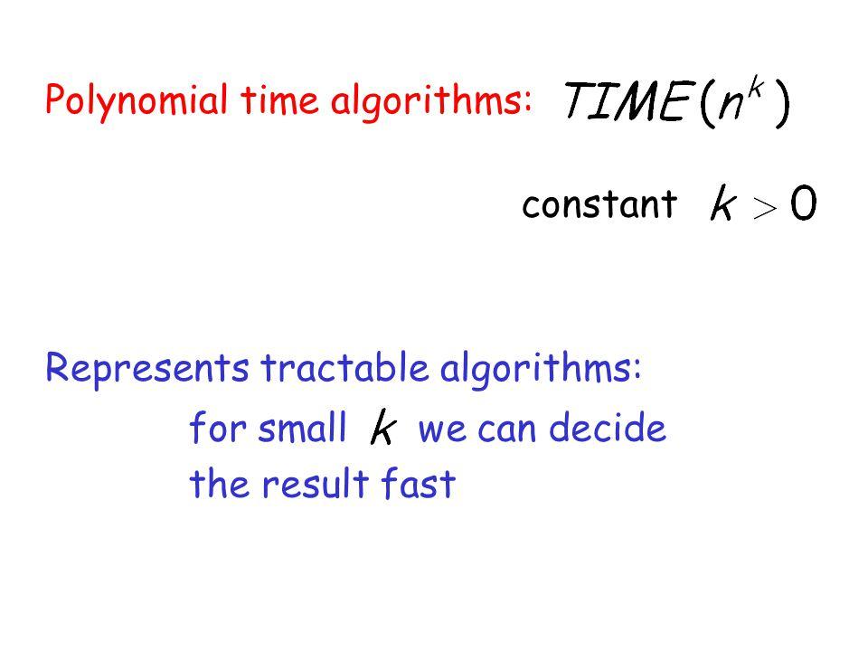 Polynomial time algorithms: