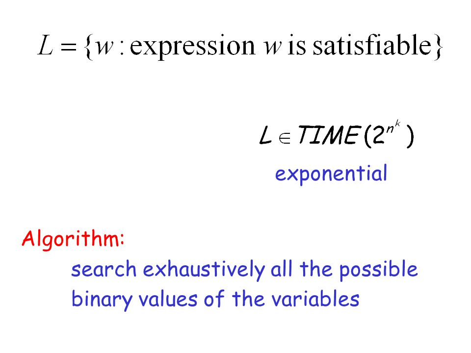 exponential Algorithm: search exhaustively all the possible binary values of the variables